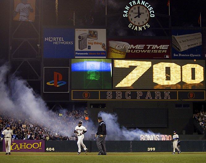 Barry Bonds<br>Date, Site: Sept. 17, 2004, SBC Park<br>Pitcher: Jake Peavy<br>Inning: 3, Men on Base: 0, Outs: 0<br>Game Result: Giants 4, Padres 1<br><br> Hank Aaron<br>Date, Site: July 21, 1973, Atlanta Stadium<br>Pitcher: Ken Brett, Philadelphia Phillies <br>Inning: 3rd, Men on Base: 1, Outs: 0<br>Game Result: Phillies 8, Braves 4