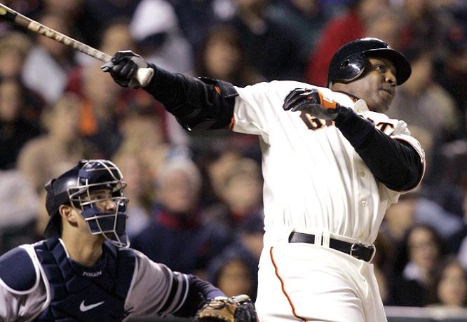 Barry Bonds<br>Date, Site: June 22, 2007, AT&T Park<br>Pitcher: Scott Proctor<br>Inning: 8th, Men on Base: 0, Outs: 0<br>Game Result: Yankees 7, Giants 3<br><br><br>Hank Aaron<br>Date, Site: June 14, 1976, Angels Field<br>Pitcher: Paul Hartzell<br>Inning: 9th, Men on Base: 1, Outs: 1<br>Game Result: Brewers 9, Angels 0<br>