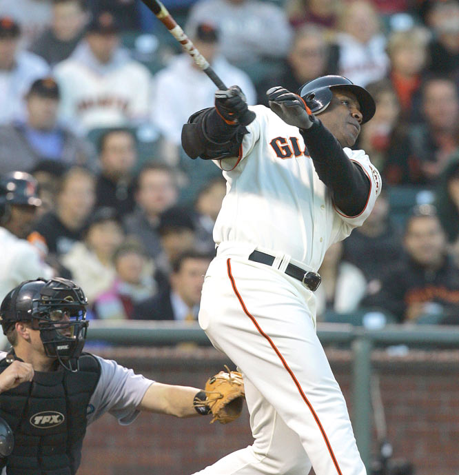 Barry Bonds<br>Date, Site: June 11, 2007, AT&T Park<br>Pitcher: Josh Towers<br>Inning: 4th, Men on Base: 1, Outs: 1<br>Game Result: Giants 4, Blue Jays 3<br><br><br>Hank Aaron<br>Date, Site: May 19, 1976, Memorial Stadium<br>Pitcher: Mike Cuellar<br>Inning: 6th, Men on Base: 0, Outs: 2<br>Game Result: Orioles 5, Brewers 3<br>
