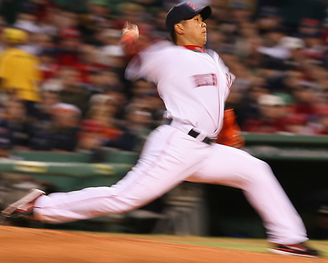Matsuzaka allowed three runs and eight hits in seven innings, striking out four and walking one.