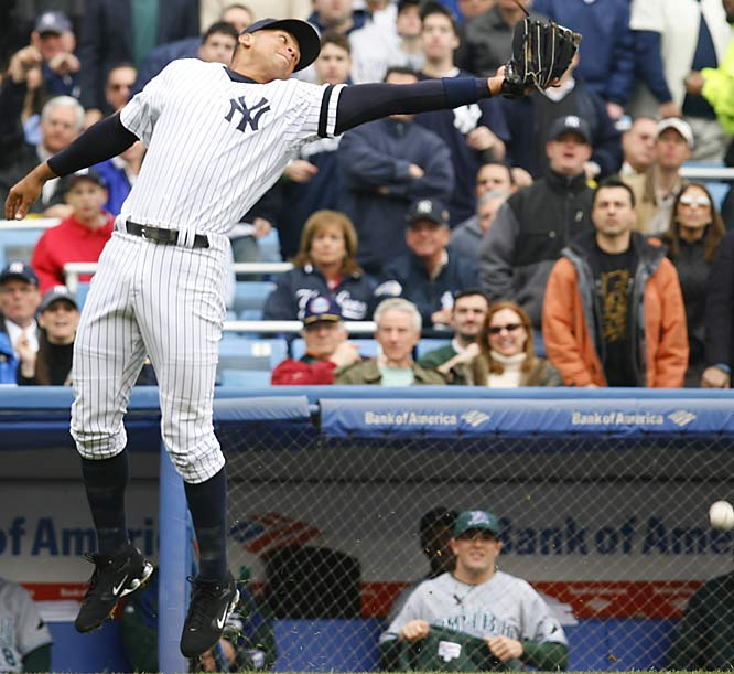 Yankees third baseman Alex Rodriguez misses a pop up in foul territory.