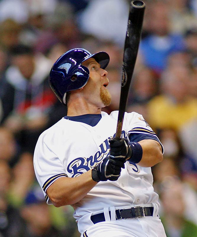 The Brewers' Geoff Jenkins hits a two-run double in the fourth inning.