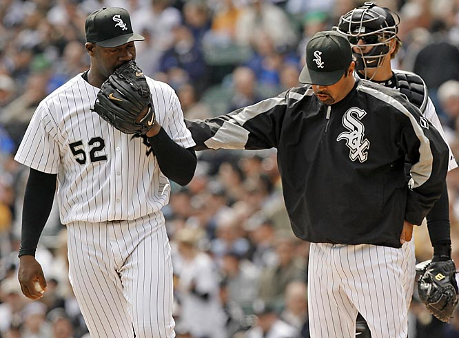White Sox starter José Contreras allowed seven runs in just one inning pitched until manager Ozzie Guillen pulled him in the second.