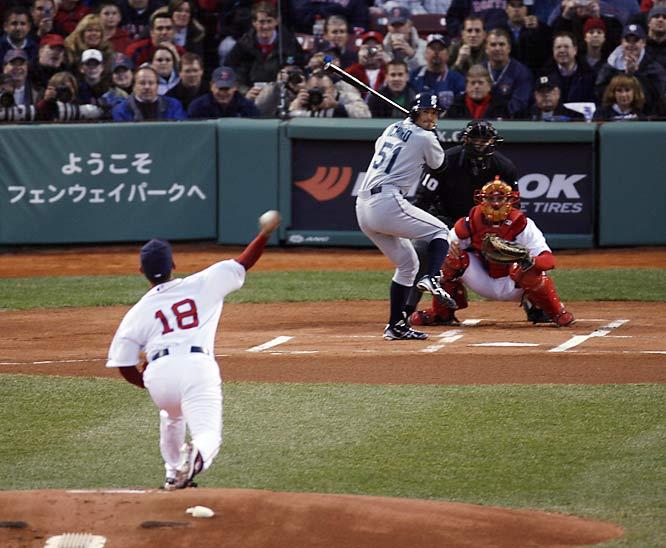Mariners star Ichiro Suzuki went 0-4 against Red Sox starter Daisuke Matsuzaka in their hyped match-up on April 11.