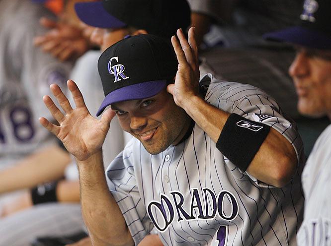 Rockies' second baseman Jamey Carroll pokes a little fun during a game against the Diamondbacks on Saturday.