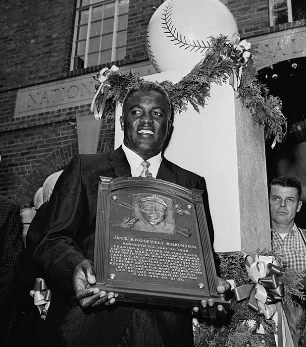 Robinson becomes the first black player inducted into baseball's Hall of Fame on July 23, 1962. He was inducted in his first year of eligibility.