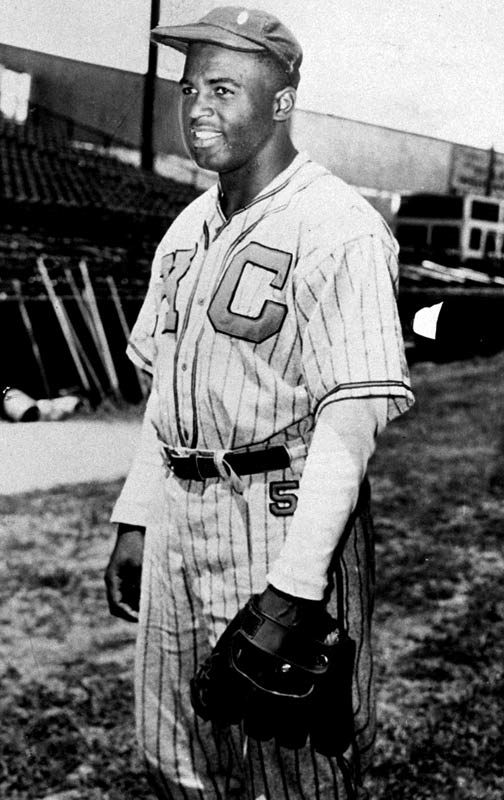 Robinson played for the Kansas City Monarchs of the Negro Leagues in 1945.