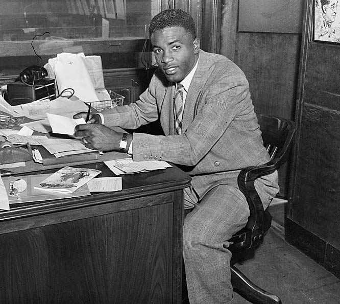 Robinson signed his contract to play for the Brooklyn Dodgers on April 10, 1947.