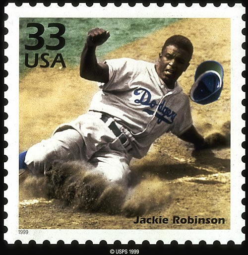 The U.S. Postal Service honored Jackie Robinson with this commemorative stamp in 1999.