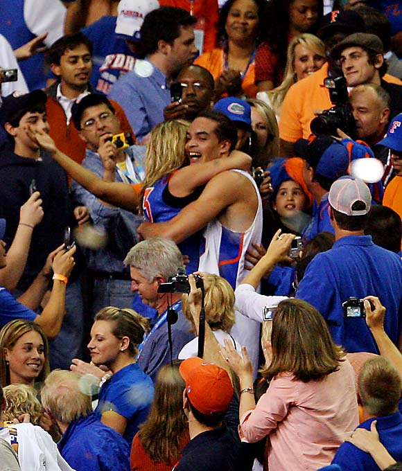 Joakim Noah made his way through a packed Georgia Dome crowd to hug his mother (and former Miss Sweden), Cécilia Rhode, after the Gators won their second consecutive national championship earlier this year.