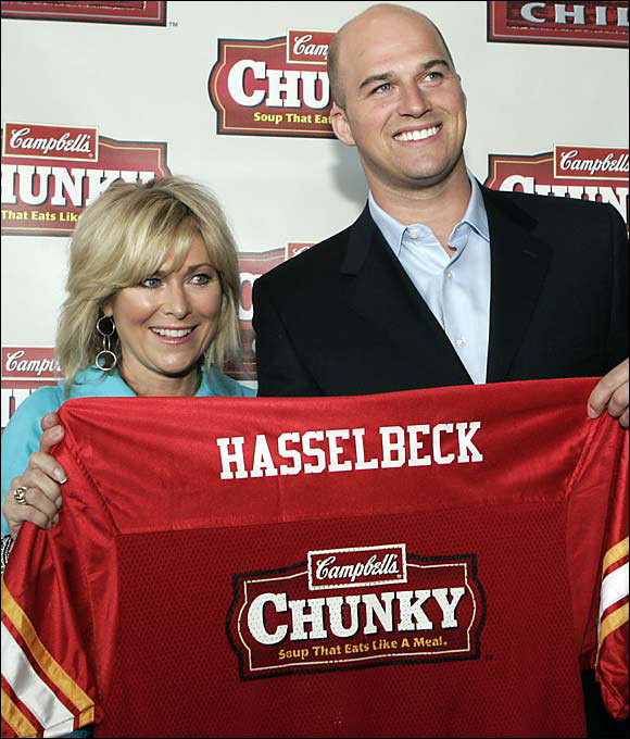 Seattle quarterback Matt Hasselbeck and his mother, Betsy, were named as new spokespeople for Campbell's Chunky soup during the 2006 NFL draft luncheon in New York City.
