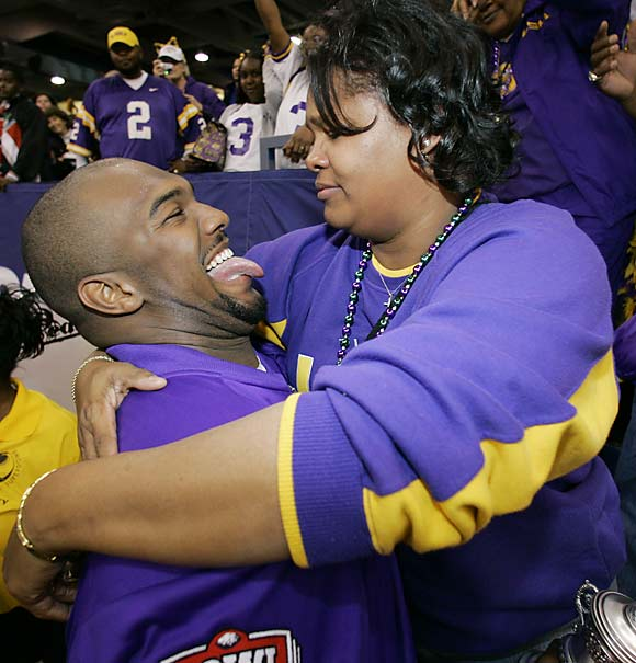 JaMarcus Russell and the No. 1 woman in his life, mother Zina Anderson, embrace after LSU defeated Notre Dame in the 2007 Sugar Bowl.