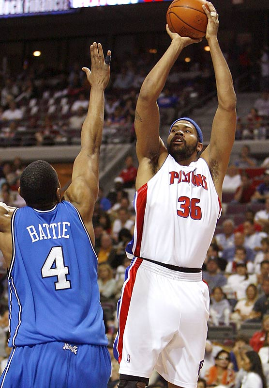 Rasheed Wallace scored 16 points in the Pistons' wire-to-wire victory over Tony Battie and the Magic.