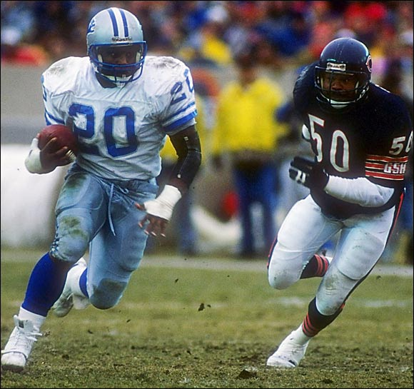 After rewriting the NCAA record book at Oklahoma State, Sanders took the NFL by storm in Detroit. The Lions made the short running back the No. 3 overall pick, and he didn't disappoint. Sanders ran for 1,470 yards and 14 touchdowns in his first season.
