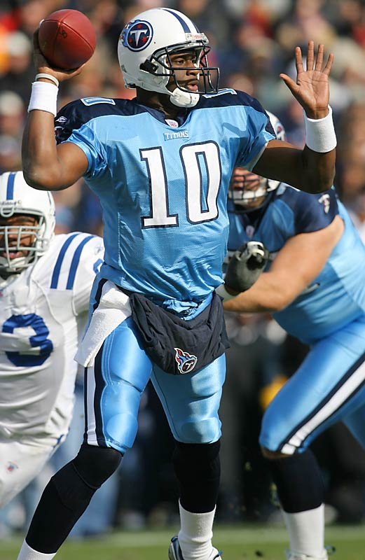 You can't judge Young's impact by his numbers. He brought an intangible quality to the Titans that helped them improve from 4-12 in 2005 to 8-8 in 2006, and they were 8-5 in games he started. The former University of Texas star frustrated opponents with his incredible scrambling ability and was at his best when the game was on the line.