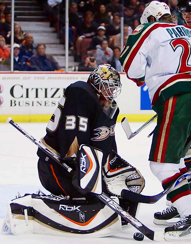 Ducks goalie Jean-Sebastien Giguere, getting his first start in eight games, made 26 saves against the Wild.