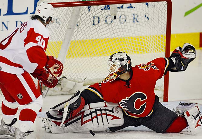 Miikka Kiprusoff made 33 saves against Henrik Zetterberg and the Red Wings and has amassed a .932 save percentage through four games.