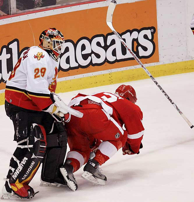 Flames backup goalie Jamie McLennan slashes Johan Franzen in the midsection late in the game.  After playing just 18 seconds, McLennan was ejected with a 10-minute game misconduct and attempt to injure penalty.  The NHL dealt McLennan a five-game suspension.