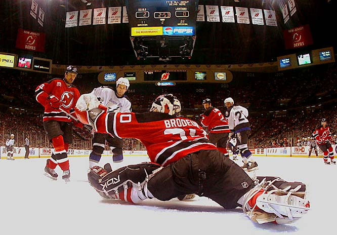 Martin Brodeur turned aside all 31 shots by the Lightning in Friday night's win to put the Devils up 3-2 in the series.  Brodeur now has 22 playoff shutouts in his career, just one behind Patrick Roy.