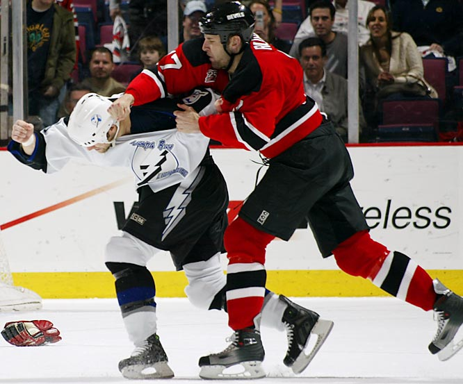Just 14 seconds after Scott Gomez scored an empty net goal to seal the game for the Devils, Michael Rupp fought the Lightning's Andre Roy, the first of two fights before game's end.