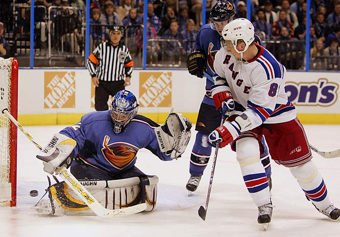 Younger brother Marcel Hossa, however, managed to score for the Rangers in the second period against Thrashers goalie Kari Lehtonen.