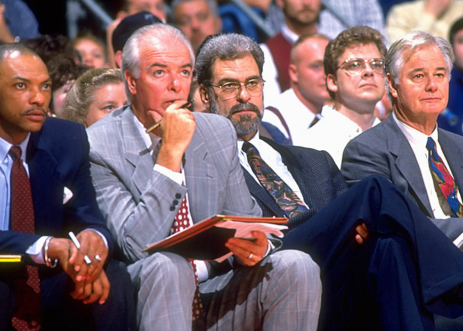 "Influenced by his longtime assistant Tex Winter (right), Jackson came to rely on the triangle offense. Not many teams use the pass-and-cut, read-and-react offense consistently, but then, Jackson is known to go against the grain. He's lectured his players on Zen Buddhism, given them books to read on road trips and brought in a stress-relief specialist to offer them breathing lessons. ""I've never known anybody to handle crisis the way Phil does,"" Winter told SI. ""He's able to read the big picture and not let the emotions of the moment control him."""