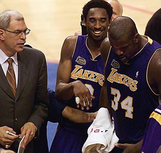 The three-peat in L.A. gave Jackson nine for his coaching career, tying him with Red Auerbach for the most all time. But he briefly put his quest for No. 10 on hold after the 2003-04 season when he opted not to return to the Lakers, who traded Shaq in the offseason and retooled around Kobe. A year later, however, Jackson was back coaching the Lakers, bringing with him the NBA's all-time best winning percentage of more than .700.