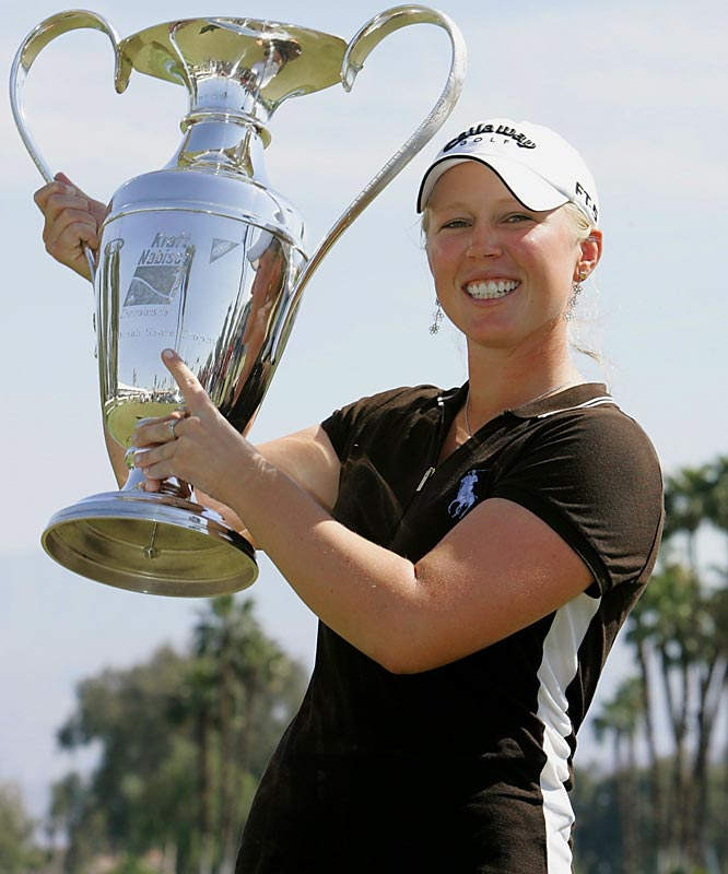 The 18-year-old Pressel became the youngest woman to win a women's major when she shot a final-round 69 on April 2 to finish three-under par for the Kraft Nabisco Championship. She defeated Brittany Lincicome, Catriona Matthew and Suzann Pettersen by one shot.