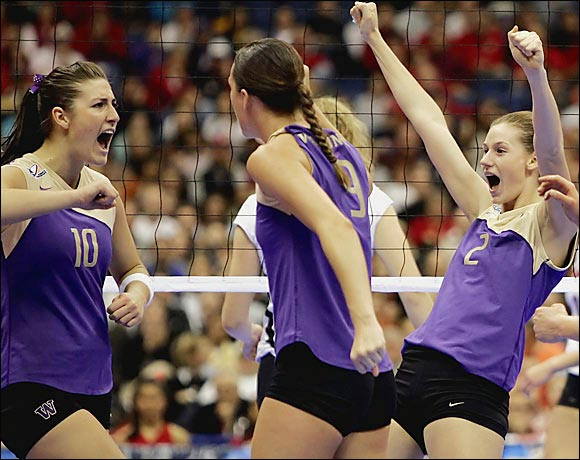 Reigning champion Washington became the school's third program to win a national title and only the second team to sweep through the NCAA tournament. The Huskies didn't lose a game in six matches.
