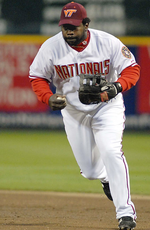 First baseman Dmitri Young and his Washington Nationals teammates memorialized the victims by wearing Virginia Tech caps during their game against the Atlanta Braves on April 17.