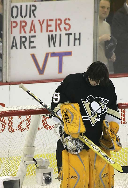 Penguins goaltender Marc-Andre Fleury during the moment of silence before his team's playoff game against the Ottawa Senators in Pittsburgh on April 17.