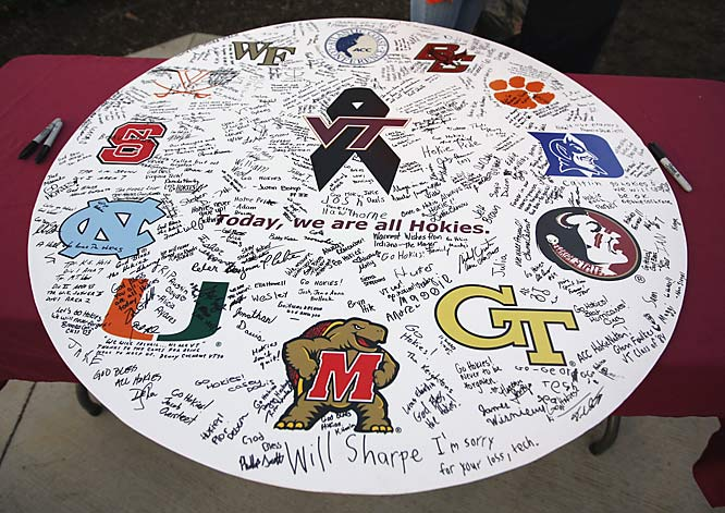 Signatures of sympathy on an Atlantic Coast Conference sign.