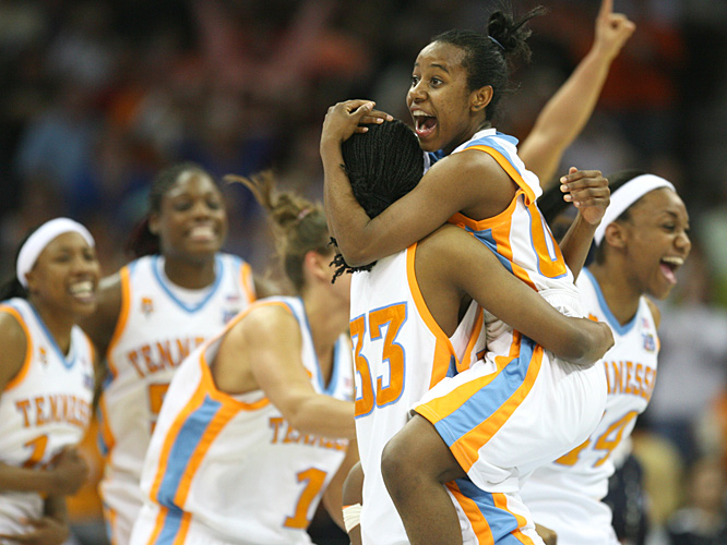 Shannon Bobbitt and her Tennessee teammates celebrate the Lady Vols first championship in nine years.