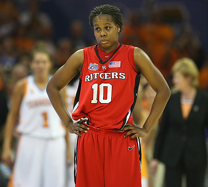 Freshman Epiphanny Prince shows her frustration as the Scarlet Knights couldn't overcome Tennessee's dominance in the paint.