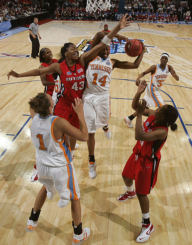 Tennessee's Alexis Hornbuckle grabs a rebound from Rutgers' Rashidat Junaid in first-half action Tuesday.