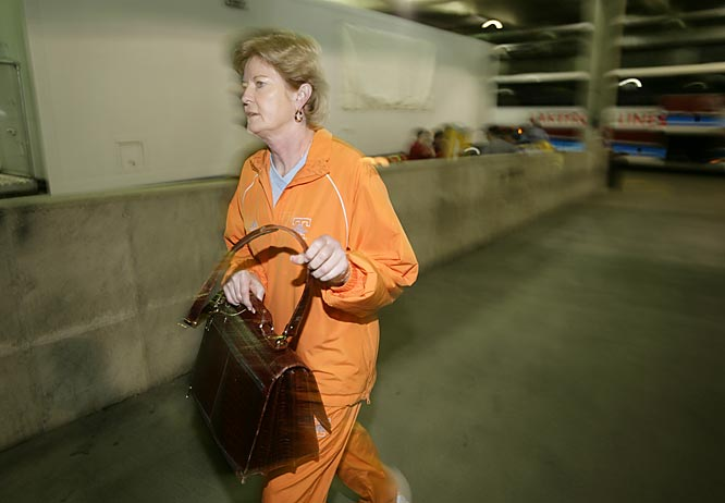 Coach Pat Summitt arriving for practice on Monday.