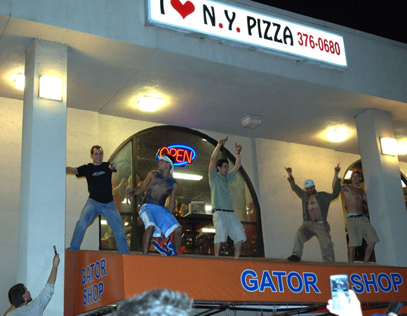 We can't tell if these guys were celebrating the Gators' title or if this was just a typical Monday night.