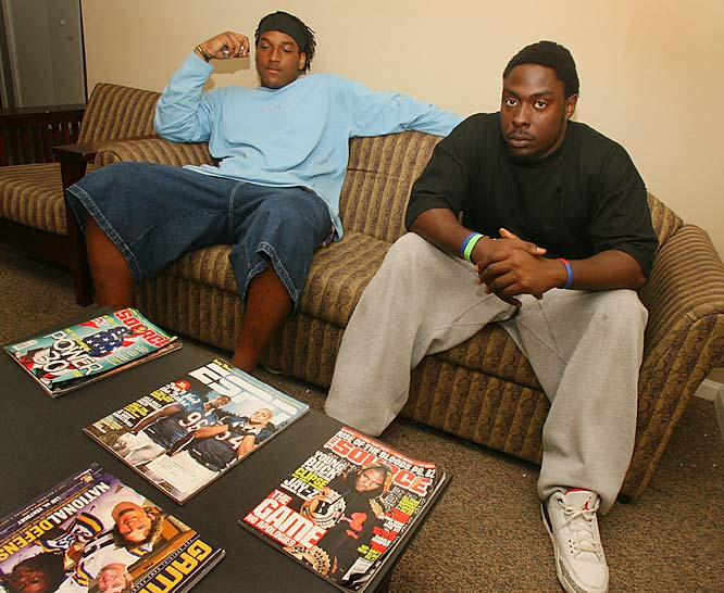 "Ricky and Barksdale relax on their living room coach. Ricky, who has three roommates said SIOC was lucky to catch him and one of his roommates at the apartment together. ""I'm surprised we are here at the same time,"" Jean-Francois said. ""That rarely seems to happen. Between school, practice and chillin', its like we don't even live here with each other."""