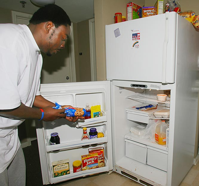 "Whenever Ricky wants to get away from the Pentagon Dinning Hall foods, he reaches for a sweet snack in his fridge. It may not look like much, but Jean-Francois said one of his favorite snacks is stored in here. ""Our fridge isn't anything special,"" Jean-Francois said. ""Except for the cookie's. My roommates can borrow most of my stuff, but when it comes to my cookie dough, they know to keep their hands off."""