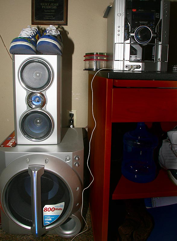 "Ricky has an 800 watt stereo system sitting on the floor in his room. ""Most people have sound in their car, but I keep mine in my room,"" Jean-Francois said. ""You won't find a louder stereo system in anyone's room. Let's just say the girl in the apartment next to me knows when I get home; but I do know when it is time to turn it down."""