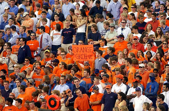 Fans at Scott Stadium enjoyed the view from the Orange Groh-ve (named after head coach Al Groh) during a September 2005 game against Western Michigan.