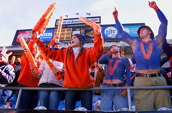 Fans celebrated the Cavaliers' 48-22 win over West Virginia in the 2002 Continental Tire Bowl in Charlotte, N.C.