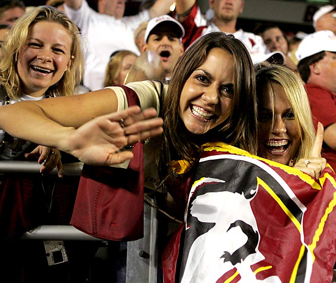 FSU fans celebrate in the stands of Chestnut Hill after the Seminoles beat Boston College in September 2005.