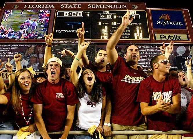 Fans celebrate a September 2005 victory over Miami.