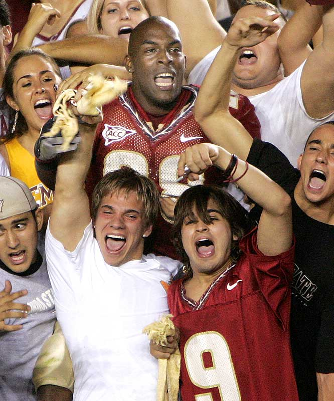 Lorenzo Booker celebrates with fans following FSU'S 10-7 win over Miami in September 2005.