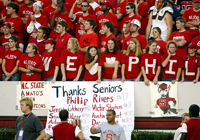 Fans thanked Philip Rivers for his four years of service during a November 2003 game against Maryland.