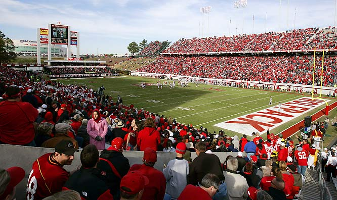 The view from the stands of Carter-Finley Stadium, home to the Wolfpack since 1966.