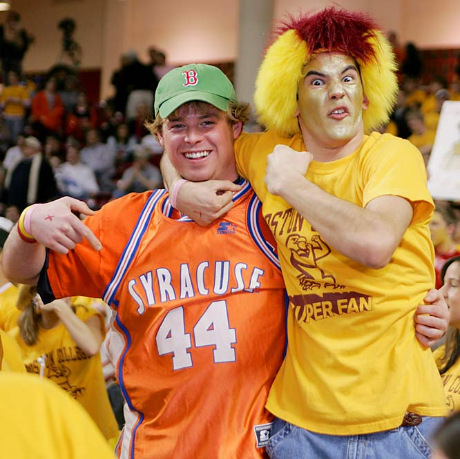 A Syracuse and Boston College fan joke around before a recent game at Conte Forum.