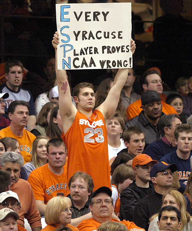 We're not exactly sure what this sign means, but there's no doubt that this fan is pulling for a Syracuse win during the Orange's NIT matchup against South Alabama last April.