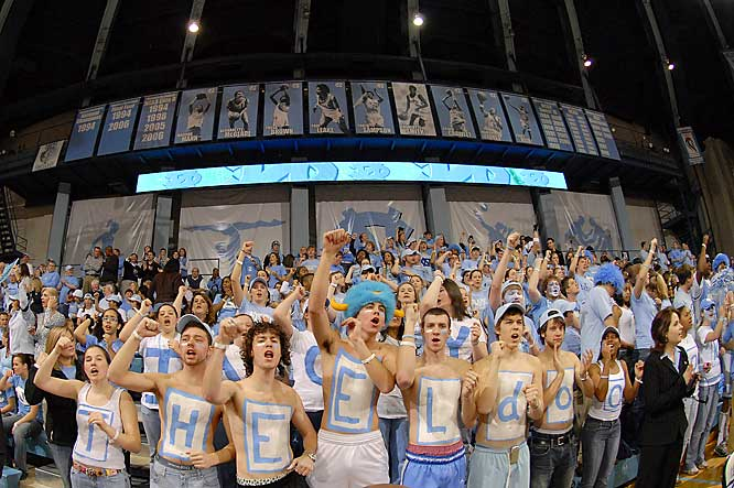 We're not sure what these Carolina fans are trying to spell (Theeldoc?), but they are certainly enjoying themselves during a women's basketball game against Duke.
